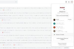 Onglet de gestion des comptes Google (avec plusieurs comptes)
