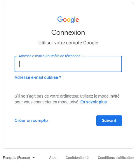 Ecran de connexion Google