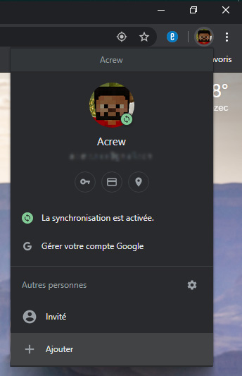 Onglet de gestion des comptes Chrome